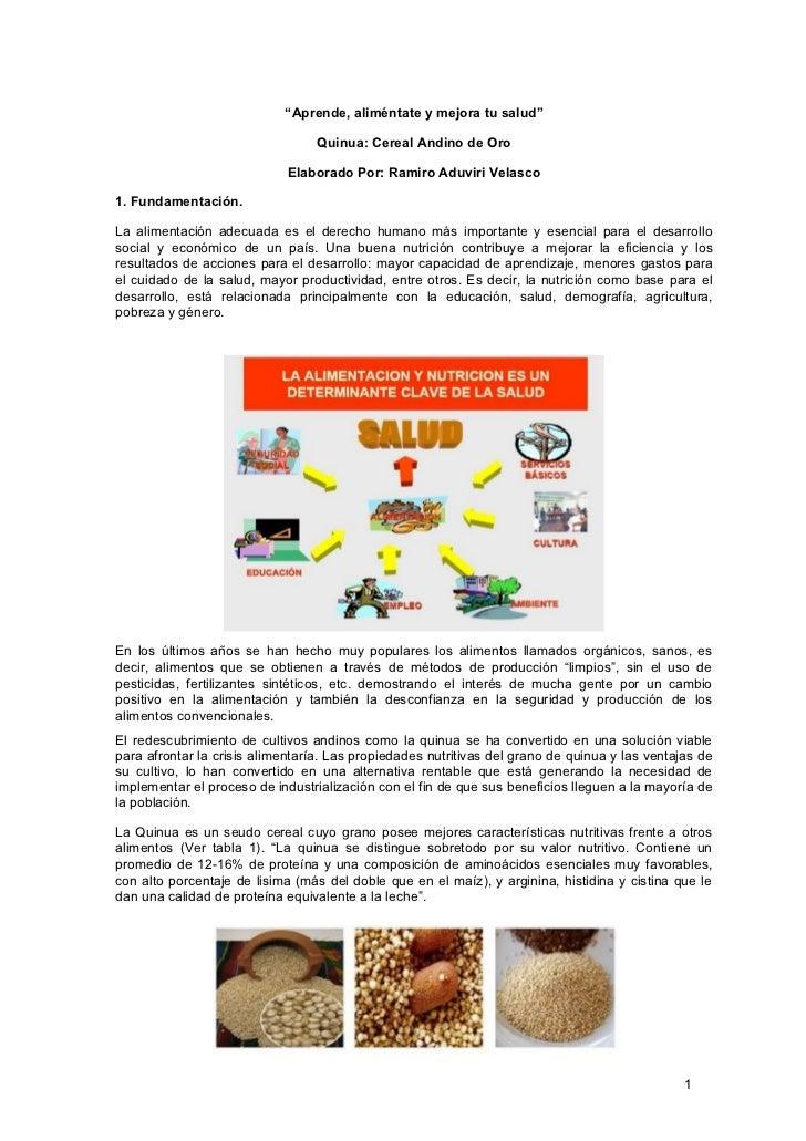 """""""Aprende, aliméntate y mejora tu salud""""                                    Quinua: Cereal Andino de Oro                   ..."""