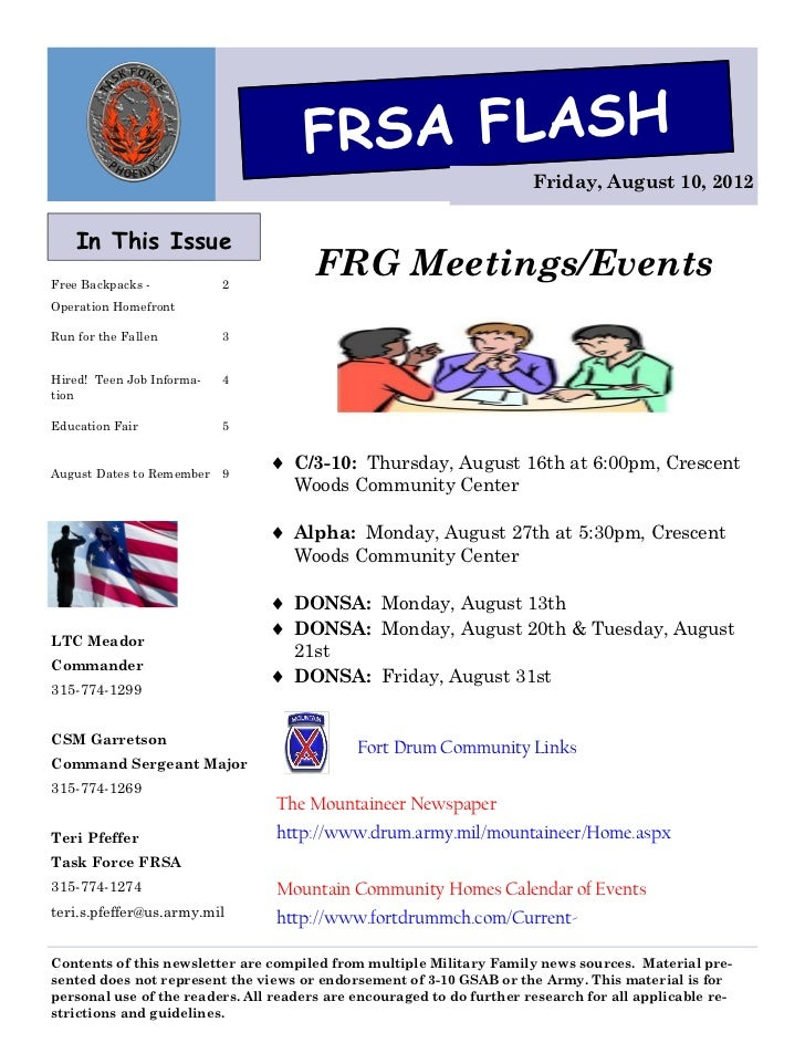 FRSA FLASH                                                                       Friday, August 10, 2012    In This IssueF...