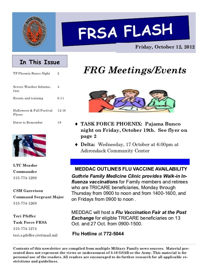 FRSA FLASH                                                                      Friday, October 12, 2012    In This IssueT...