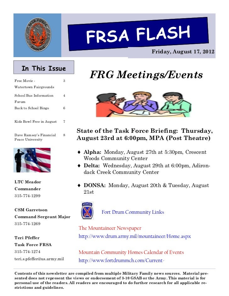 FRSA FLASH                                                                       Friday, August 17, 2012    In This IssueF...