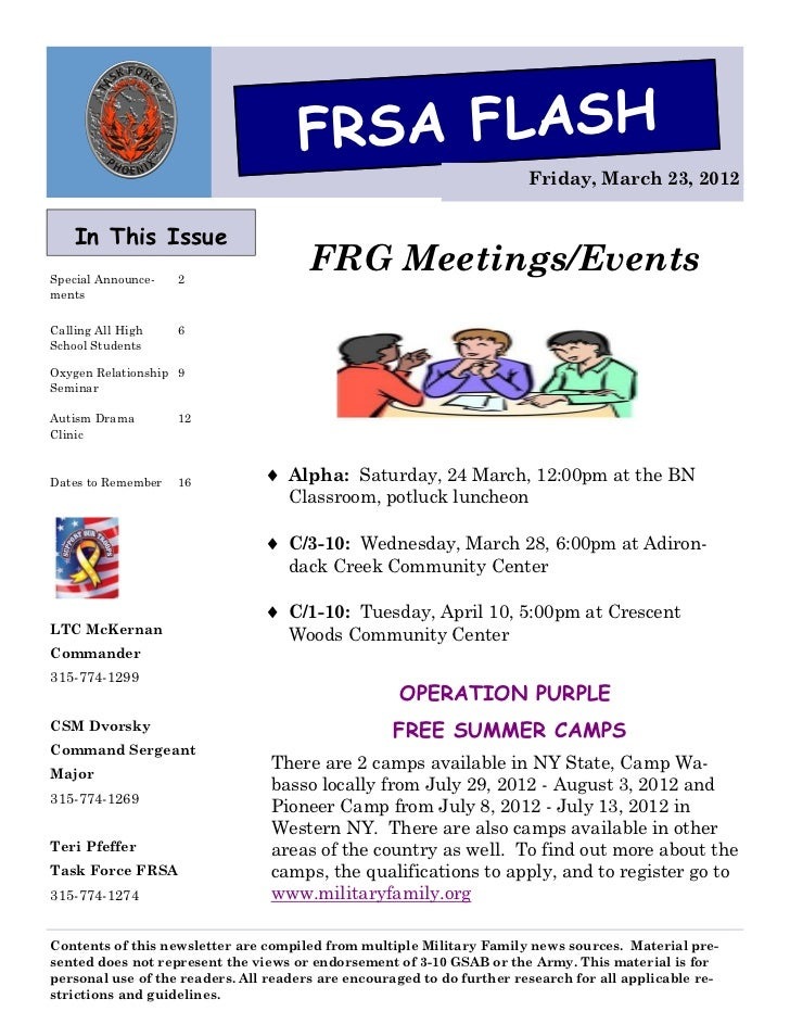 FRSA FLASH                                                                        Friday, March 23, 2012    In This IssueS...