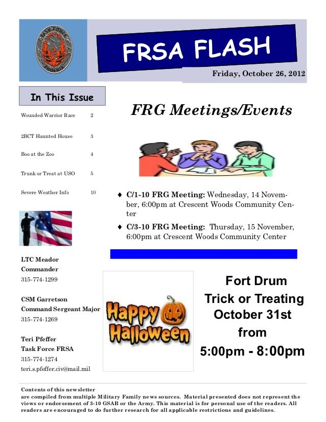 FRSA FLASH                                                                    Friday, October 26, 2012    In This IssueWou...