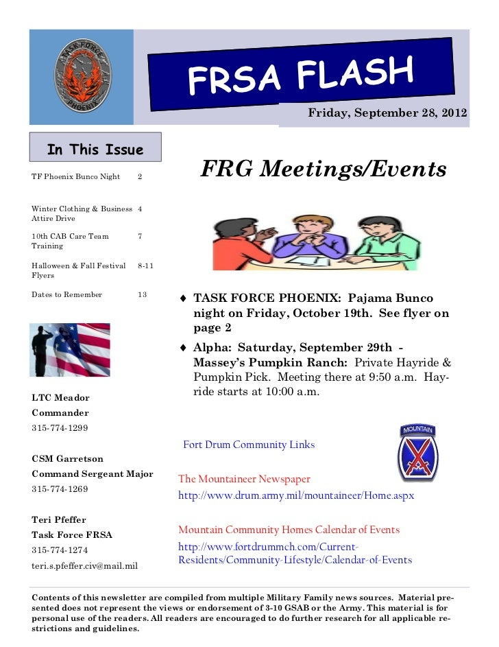 FRSA FLASH                                                                  Friday, September 28, 2012    In This IssueTF ...