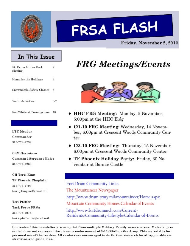FRSA FLASH                                                                    Friday, November 2, 2012    In This IssueFt....