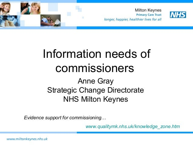 Information needs of commissioners Anne Gray Strategic Change Directorate NHS Milton Keynes Evidence support for commissio...