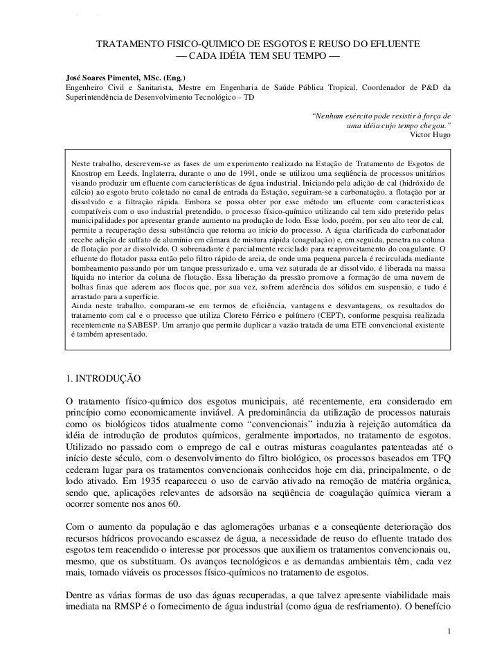 TFQTEXTO        TRATAMENTO FISICO-QUIMICO DE ESGOTOS E REUSO DO EFLUENTE                      CADA IDÉIA TEM SEU TEMPO J...