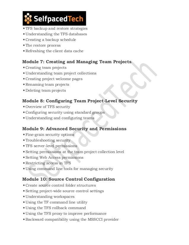 TFS Course Content   TFS course online training