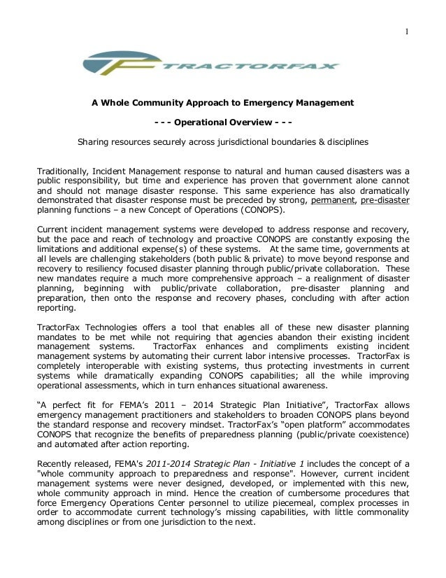 1             A Whole Community Approach to Emergency Management                             - - - Operational Overview - ...