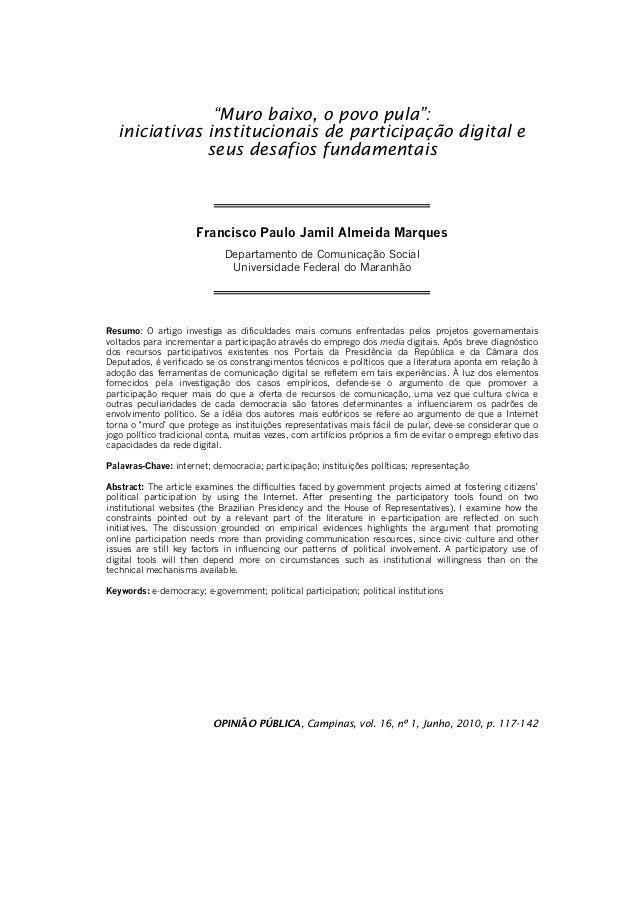 """""""Muro baixo, o povo pula"""":  iniciativas institucionais de participação digital e  seus desafios fundamentais  Francisco Pa..."""