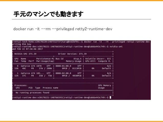手元のマシンでも動きます docker run -it --rm --privileged retty2-runtime-dev