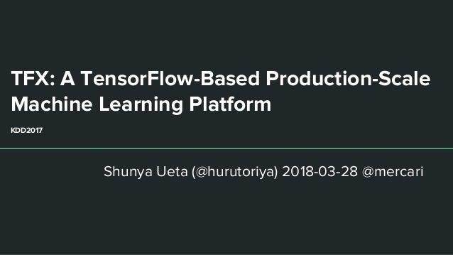 TFX: A TensorFlow-Based Production-Scale Machine Learning Platform KDD2017 Shunya Ueta (@hurutoriya) 2018-03-28 @mercari