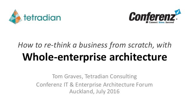How to re-think a business from scratch, with Whole-enterprise architecture Tom Graves, Tetradian Consulting Conferenz IT ...
