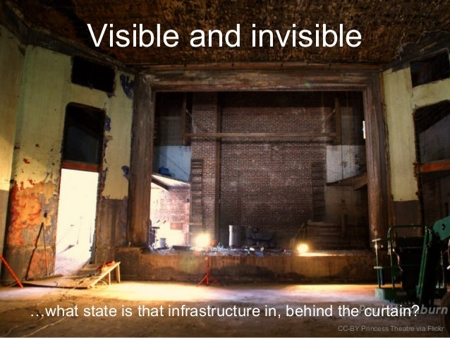 Visible and invisible …what state is that infrastructure in, behind the curtain? CC-BY Princess Theatre via Flickr