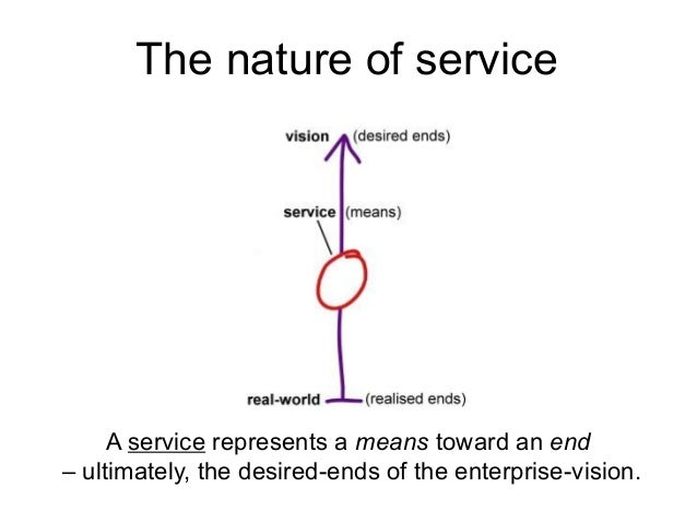 A service represents a means toward an end – ultimately, the desired-ends of the enterprise-vision. The nature of service