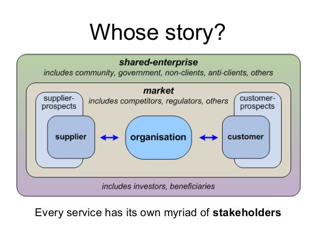 Every service has its own myriad of stakeholders Whose story?