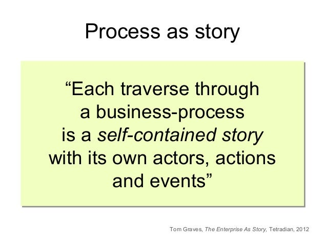"""""""Each traverse through a business-process is a self-contained story with its own actors, actions and events"""" """"Each travers..."""