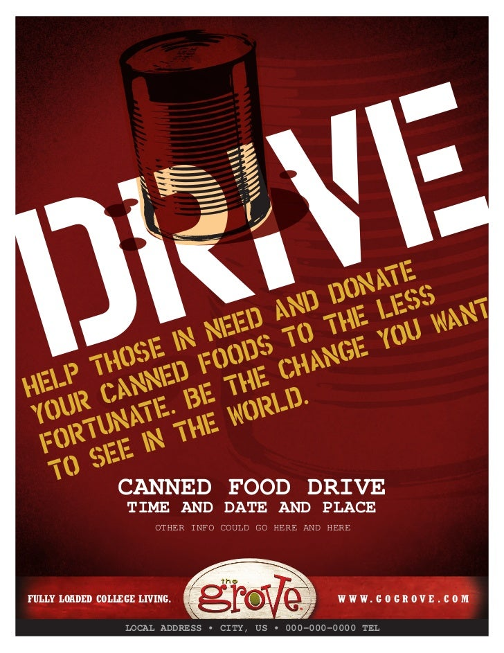 Tg080079 Canned Food Drive Flyer RiVe D Hos F P T NneHel Ca Yo Un For Ee In E