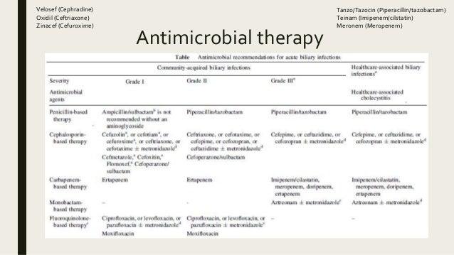 Antimicrobial therapy Velosef (Cephradine) Oxidil (Ceftriaxone) Zinacef (Cefuroxime) Tanzo/Tazocin (Piperacillin/tazobacta...