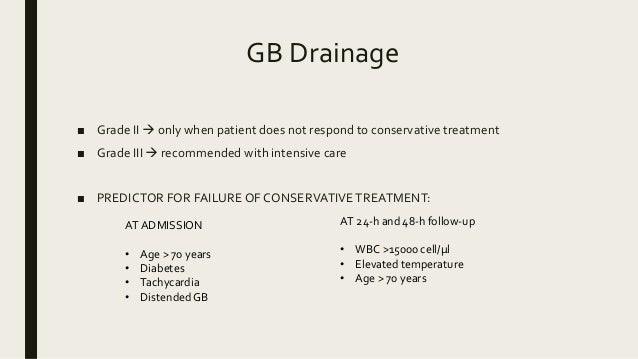 GB Drainage ■ Grade II  only when patient does not respond to conservative treatment ■ Grade III  recommended with inten...