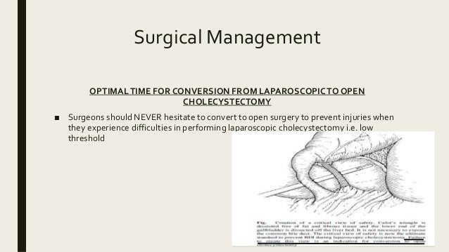 Surgical Management OPTIMALTIME FOR CONVERSION FROM LAPAROSCOPICTO OPEN CHOLECYSTECTOMY ■ Surgeons should NEVER hesitate t...