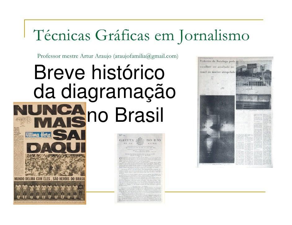 Técnicas Gráficas em Jornalismo Professor mestre Artur Araujo (araujofamilia@gmail.com)   Breve histórico da diagramação  ...