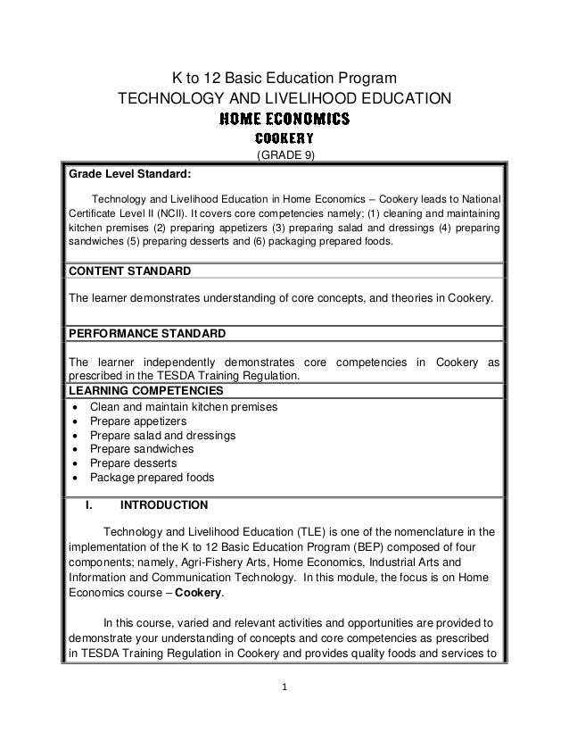 1  K to 12 Basic Education Program  TECHNOLOGY AND LIVELIHOOD EDUCATION  (GRADE 9)  Grade Level Standard:  Technology and ...