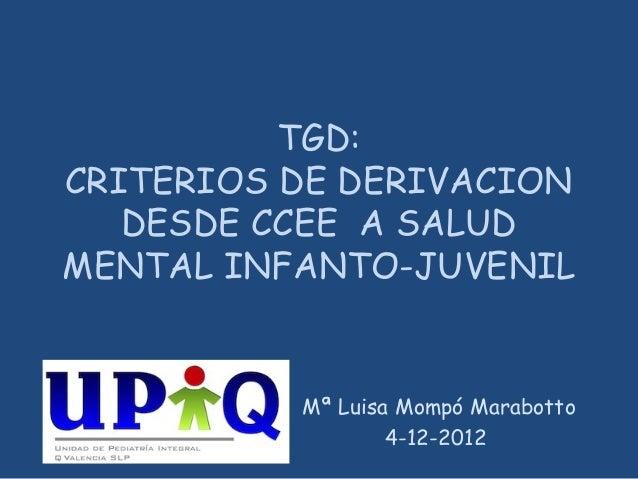TGD: CRITERIOS DE DERIVACION DESDE CCEE A SALUD MENTAL INFANTO-JUVENIL Mª Luisa Mompó Marabotto 4-12-2012