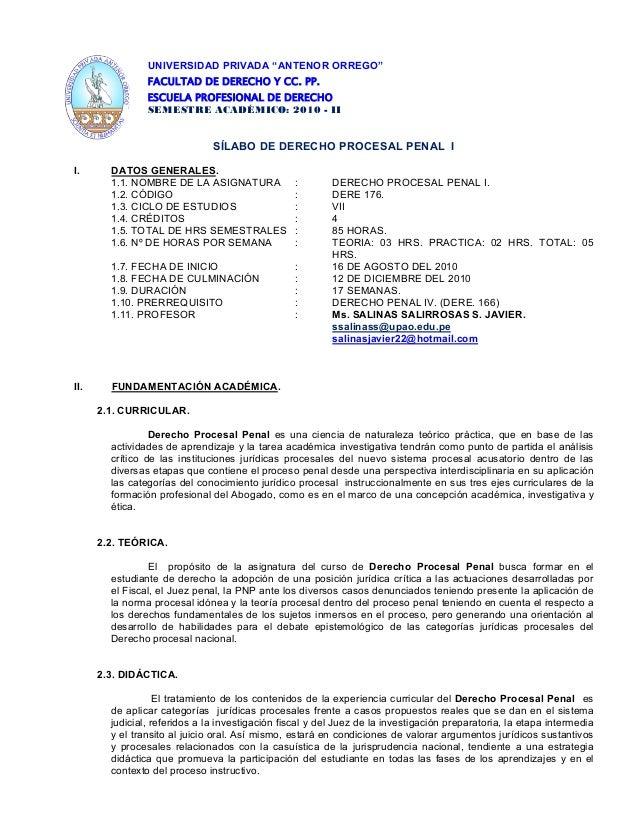 """UNIVERSIDAD PRIVADA """"ANTENOR ORREGO"""" FACULTAD DE DERECHO Y CC. PP. ESCUELA PROFESIONAL DE DERECHO SEMESTRE ACADÉMICO: 2010..."""