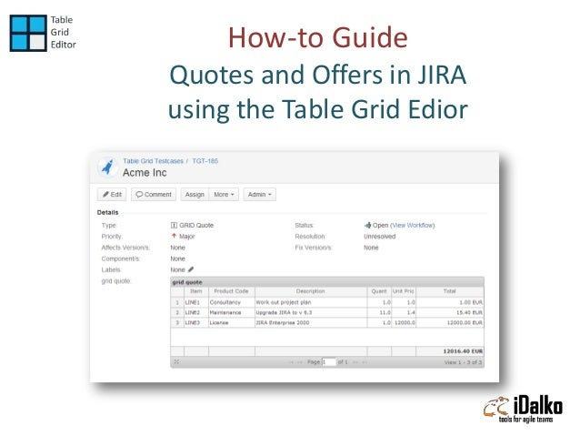 How-to Guide Quotes and Offers in JIRA using the Table Grid Edior