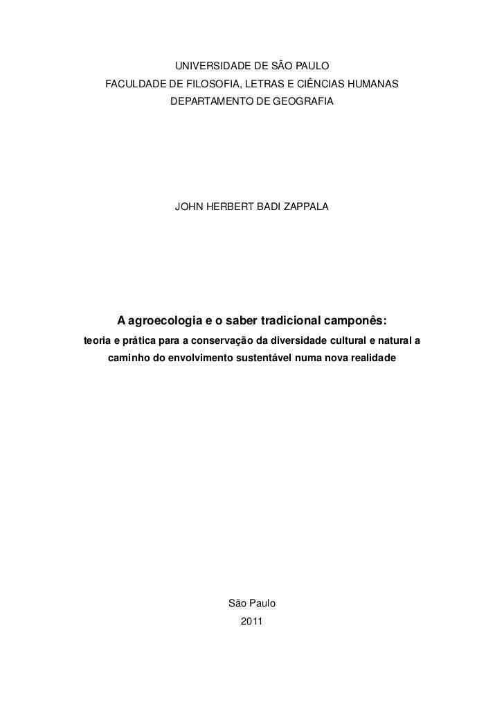 UNIVERSIDADE DE SÃO PAULO    FACULDADE DE FILOSOFIA, LETRAS E CIÊNCIAS HUMANAS                  DEPARTAMENTO DE GEOGRAFIA ...