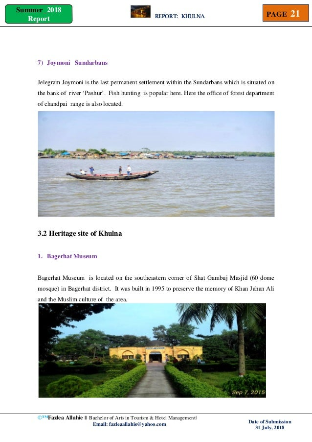 Tourist Geography Of Khulna