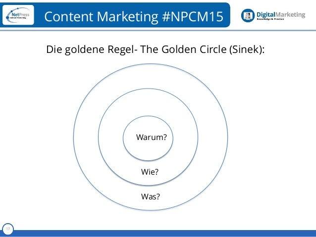 Referent 17 Content Marketing #NPCM15 Die goldene Regel- The Golden Circle (Sinek): Warum? Wie? Was?