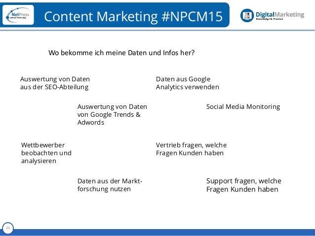 Referent 20 Content Marketing #NPCM15 Auswertung von Daten aus der SEO-Abteilung Auswertung von Daten von Google Trends & ...