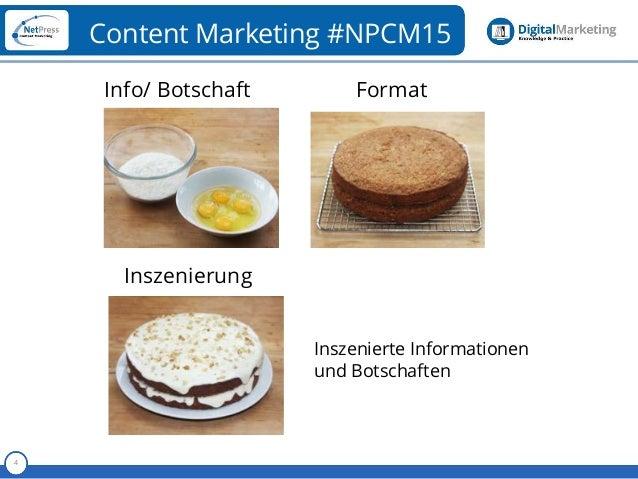 Referent 4 Content Marketing #NPCM15 Info/ Botschaft Format Inszenierung Inszenierte Informationen und Botschaften