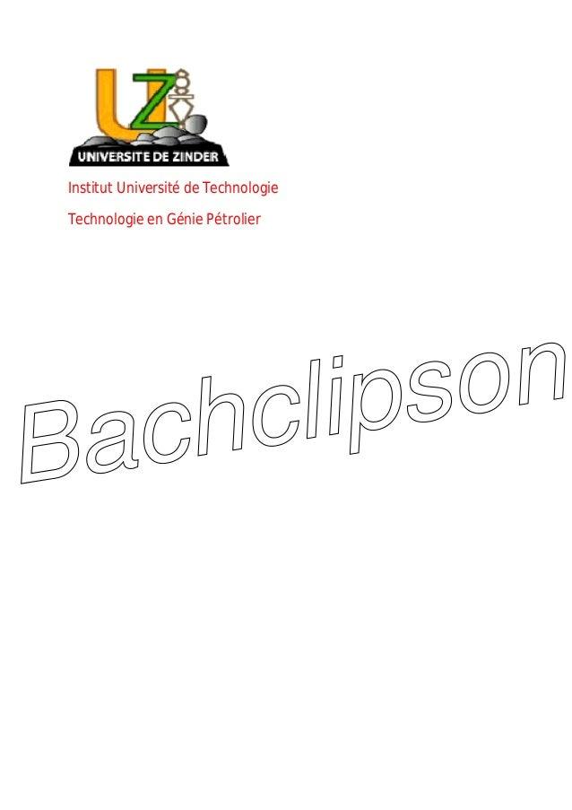 Institut Université de Technologie Technologie en Génie Pétrolier Bachclipson