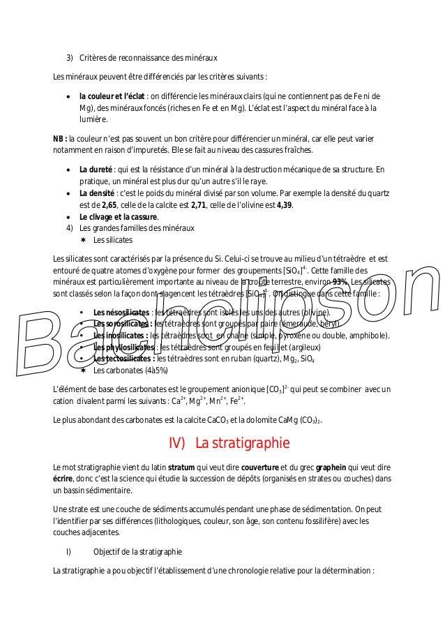 3) Critères de reconnaissance des minéraux Les minéraux peuvent être différenciés par les critères suivants : la couleur e...