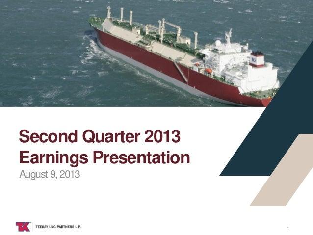 TEEKAY LNG August 9, 2013 Second Quarter 2013 Earnings Presentation 1