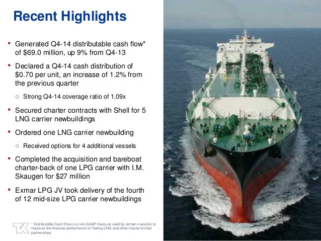 3 Recent Highlights • Generated Q4-14 distributable cash flow* of $69.0 million, up 9% from Q4-13 • Declared a Q4-14 cash ...