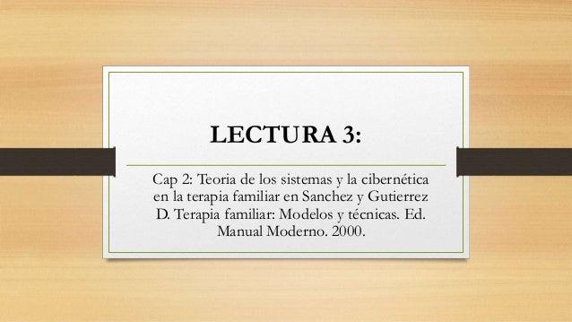 LECTURA 3: Cap 2: Teoria de los sistemas y la cibernética en la terapia familiar en Sanchez y Gutierrez D. Terapia familia...