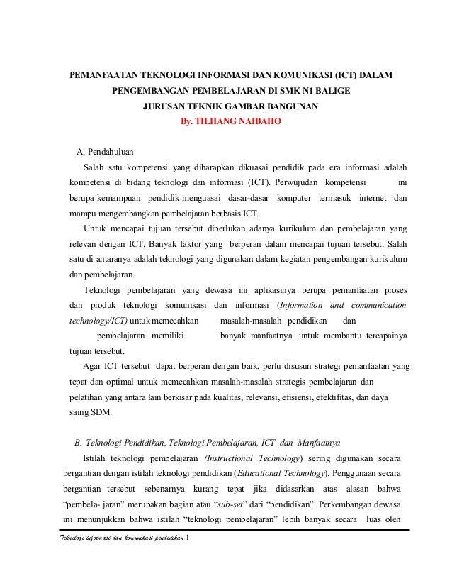 PEMANFAATAN TEKNOLOGI INFORMASI DAN KOMUNIKASI (ICT) DALAMPENGEMBANGAN PEMBELAJARAN DI SMK N1 BALIGEJURUSAN TEKNIK GAMBAR ...