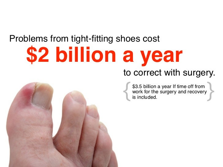 Problems from tight-fitting shoes cost    $2 billion a year                            to correct with surgery.            ...