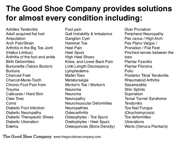 The Good Shoe Company provides solutions for almost every condition including: Achilles Tendonitis                Foot pai...