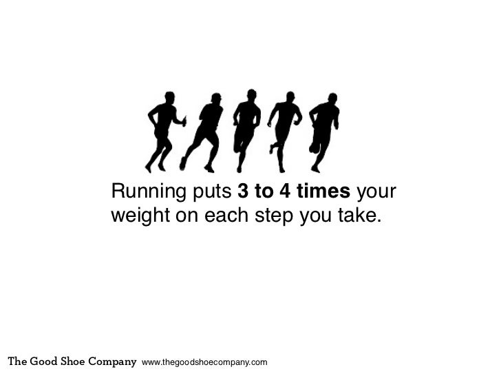 Running puts 3 to 4 times your                weight on each step you take.The Good Shoe Company   www.thegoodshoecompany....