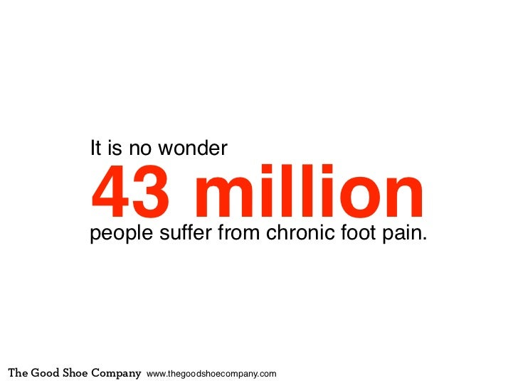 It is no wonder             43 million            people suffer from chronic foot pain.The Good Shoe Company   www.thegood...