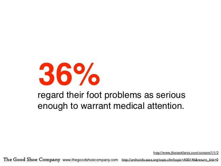 36%            regard their foot problems as serious            enough to warrant medical attention.                      ...
