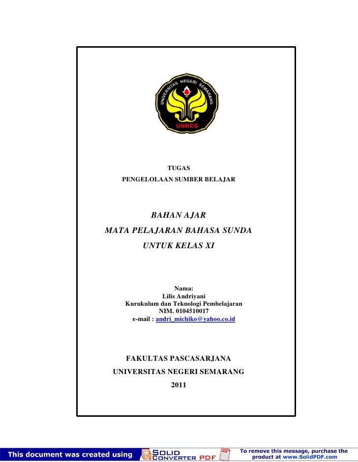 TUGAS   PENGELOLAAN SUMBER BELAJAR          BAHAN AJARMATA PELAJARAN BAHASA SUNDA        UNTUK KELAS XI                   ...