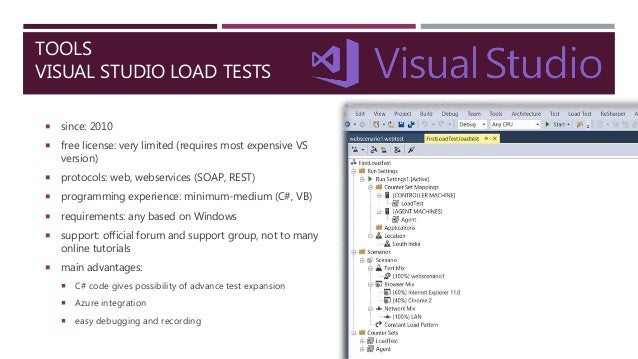 TOOLS VISUAL STUDIO LOAD TESTS  since: 2010  free license: very limited (requires most expensive VS version)  protocols...