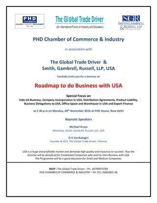 Roadmap to do Business in the USA - November 2016, Delhi, India