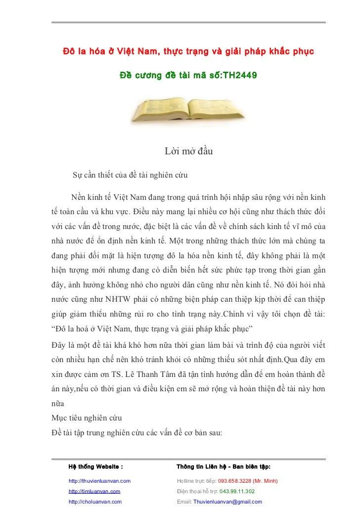 Đô la hóa ở Việt Nam, thực trạng và giải pháp khắc phục                          Đề cương đề tài mã số:TH2449             ...