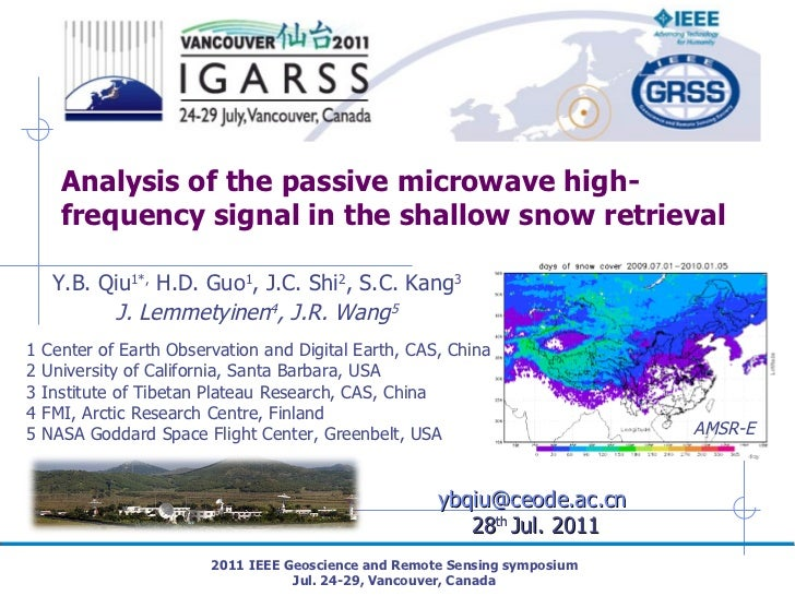 Analysis of the passive microwave high-frequency signal in the shallow snow retrieval 2011 IEEE Geoscience and Remote Sens...